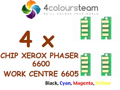 4x TONER RESET CHIPS  FOR XEROX PHASER 6600/6605 106R02236 106R02233 106R02235