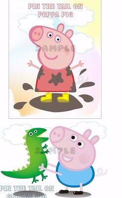 Peppa Pig, George Pig Pin the Tail Game-20 Players A3 size,Baby Shower,Birthdays
