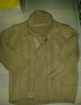 Beige chunky knitted cardigan 12-18 months