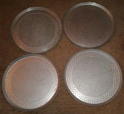 "Set of 4 Perforated 15"" Pizza Pie Pans Seasoned"
