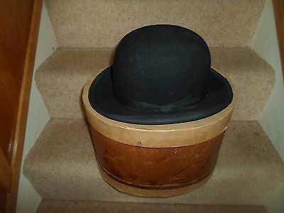 Large Vintage City Style Bowler Hat Size Aprx 7 1/4  +Old Box Display or Prop