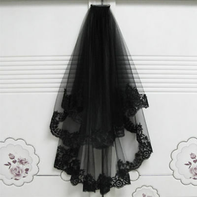 2T New Black Lace Face Mask Edge With Comb Elbow Bridal Wedding Cathedral Veil