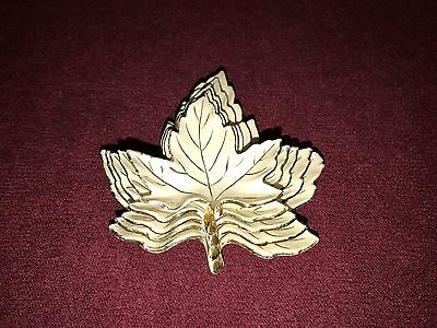 """5 Vintage Ceramic White & Gold Stacking Leaves Dishes Plates 2.75 - 4.5"""" Clare"""