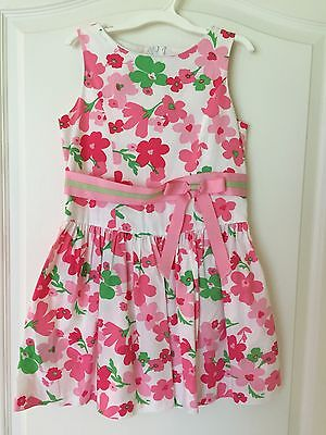 Girls Pink & Green Spring Summer Floral Dress Size 6