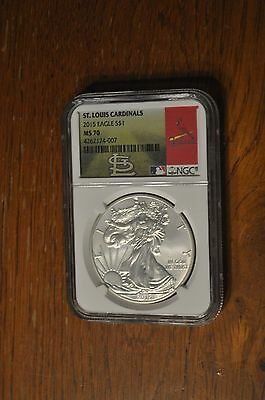 2015 NGC MS70 United States 1 OZ .999 Fine Silver Eagle Coin St Louis Cardinals