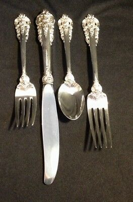 Estate Wallace 4pc Sterling Silver Grande Baroque Flatware Place Setting