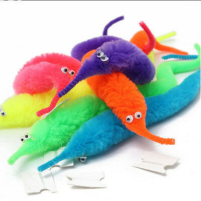 Magic Worm Wiggly Twisty Worms Wurli Squirmles Kids Cat Fuzzy Toy Soft FO