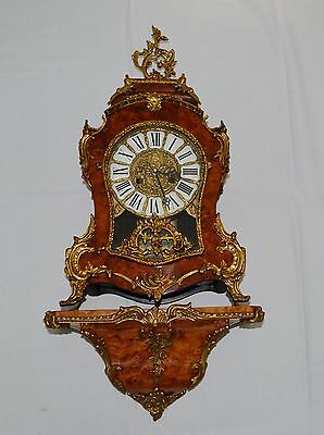 Antique Vintage Large Boulle Figured Walnut Ormolu Clock & Matching Wall Bracket