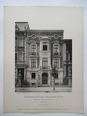 Berlin Wohnhaus Lessingstrasse No.57 - orig. H.Rückwardt Phototypie 1888