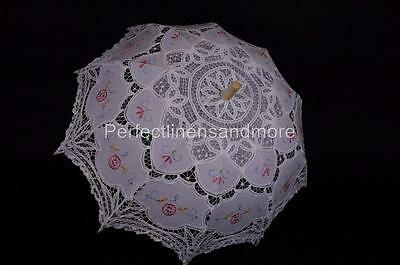 Battenburg Lace White Parasol with dainty colored embroidery