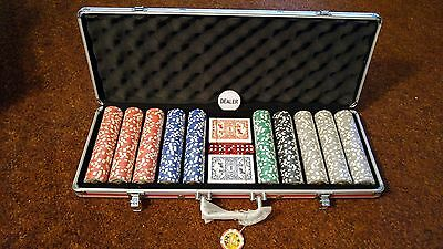 500 pc. Las Vegas Poker set in Aluminum Case NEW with cards and 5 dice with inst