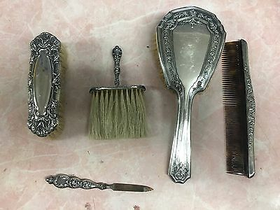 Antique Sterling Silver 5 Piece Vanity Set