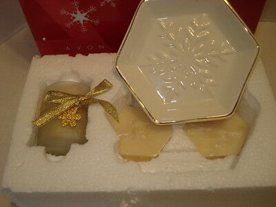 Avon Snowflake Bath Gift Set Candle, White and Gold Soap Dish and Soap New