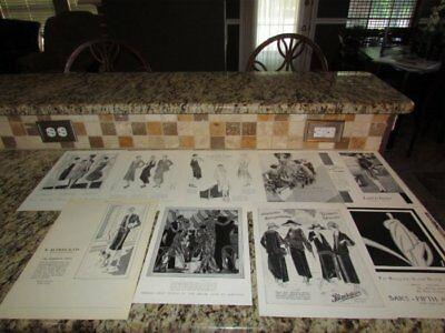 VINTAGE LOT OF 40 1920's WOMEN'S FASHION B&W VOGUE BELDING'S CHANEL AD PRINT