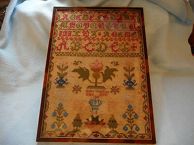Antique Framed Victorian Sampler 1860 By Helen Thompson