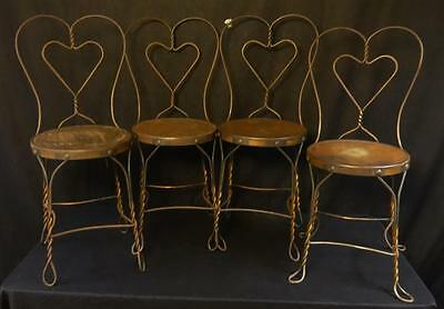 Fabulous Set of 4 Antique Ice Cream Chairs Copper Plated WOW!