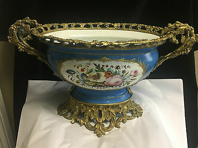 Lovely French Sevres Style Centre Piece/jardiniere With Bronze Mounts