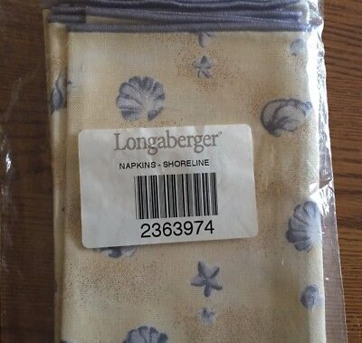 Longaberger 2 NAPKINs Shoreline Fabric -New In Bag.