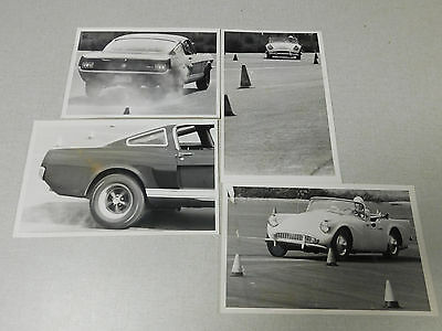 Lot of 4 vintage SCCA type sports car racing black and white photographs 1964