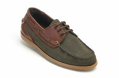 Clifford James Mens Gents Dark Olive Dartmouth Deck Leather Lace Up Shoes DTG