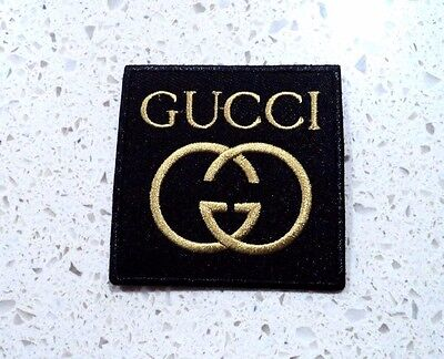 New Gold Gucci Logo Patch Embroidered Cloth Patches Applique Badge Iron Sew On