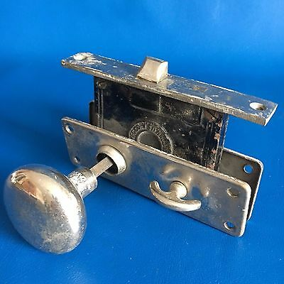 Antique Silver Door Knob Set With Back Plate And Mortise Lock