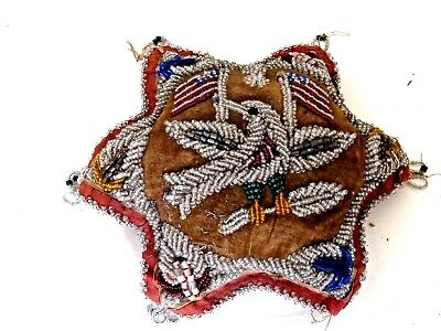 Antique Iroquois Beaded Pin Cushion American Flags