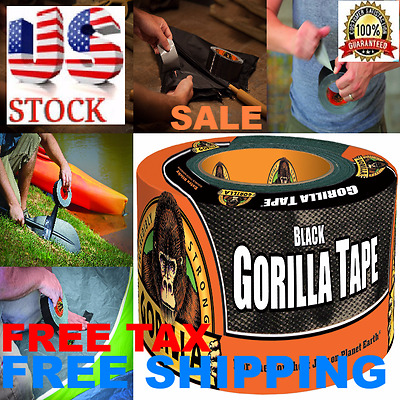 """Gorilla Duct Tape Black Heavy Duty Double Thick 1.88""""x12"""" yd Waterproof Adhesive"""