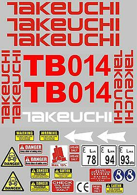 Decal Sticker set for: TAKEUCHI TB014 Mini Digger Bagger Pelle Autocollant