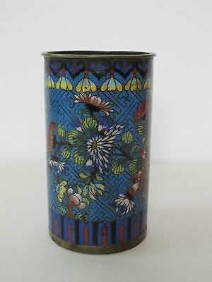 Antique Chinese Qing Dynasty Cloisonne Brush Pot with Floral Design