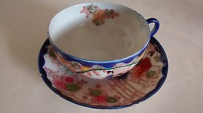Vintage Signed Imari Hand Painted Japanese Tea Cup And Saucer