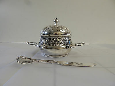 ANTIQUE 130 yr old QUADRUPLE silver plate dome butter dish by JAMES TUFTS c1880s
