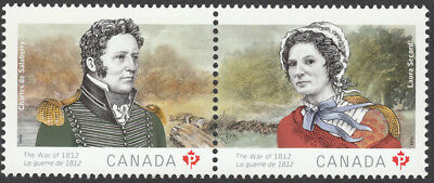 ca. WAR of 1812 LAURA SECORD and CHARLES de SALABERRY se-tenant MNH Canada 2013