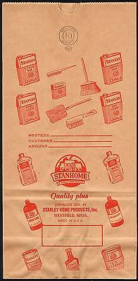 Vintage bag STANLEY HOME PRODUCTS Stanhome Westfield Mass 1952 brooms cleaners