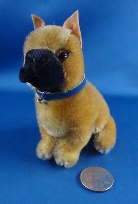 "vintage STEIFF mohair miniature 4"" BOXER DOG toy GERMANY 1950s"