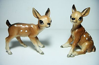 2 Lefton FAWN Ceramic Collectibles (H7192) Vintage Spotted Baby Deer Figurines