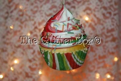 christmas ornaments kurt adler realistic foam cupcake red white green sprinkles