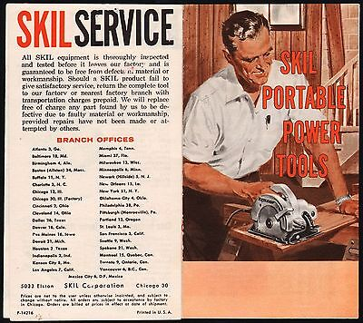 Vintage pamphlet SKIL PORTABLE POWER TOOLS man and Skilsaw pictured excellent++