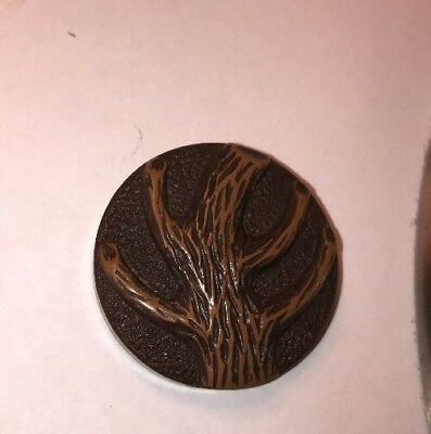 Vintage Celluloid Button With A Tree