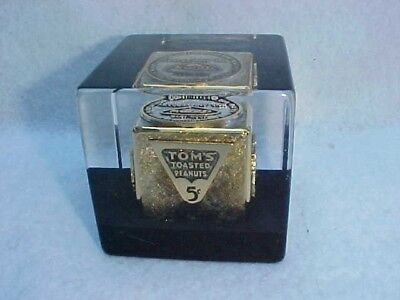 Tom's Peanut 50th Anniversary 1925 --- 1975 Gold Paperweight, Lance Store Jar