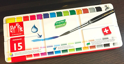 Caran D'Ache Fancolor Artist Paint Set of 15 Color Gouache with Brush