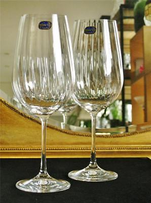 "Pair of elegant Bohemia ""Cascade"" water / wine goblets. large 550ml. NEW"