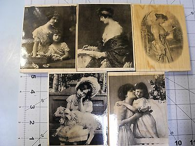5 photograph stamps of beautiful women Mother's Day Little Bo Peep Love