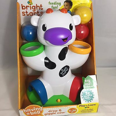 Bright Starts Having A Ball Drop and Giggle Cow 15+ Melodies & Sounds New!
