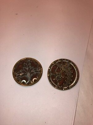 "2 Large Perfume Buttons  1 1/4"" In Diameter"