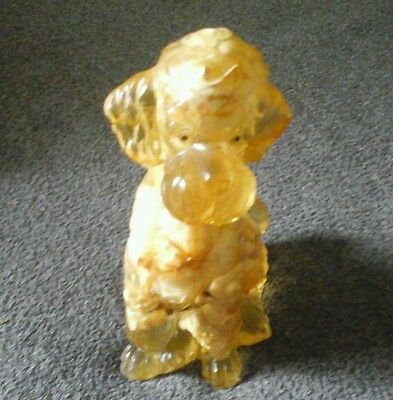 VTG Dog Statue Figurine Hard Cast Resin Acrylic Shell Poodle lucite Dog