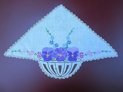Vintage Triangular Shaped 'Pansies' Hand Embroidered Doily - 45 cm x 30 cm