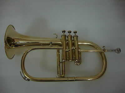 BRAND NEW BRASS FINISH Bb FLAT FLUGEL HORN+WITH FREE HARD CASE+M/P FAST SHIPPING