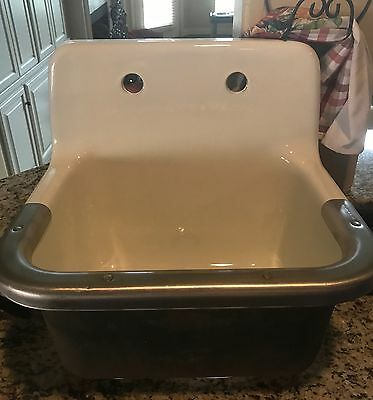 Vintage Cast Iron Porcelain Farm Sink with High