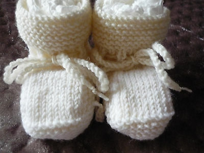 Baby Booties, 100% Wool, Handknitted By Me. Creams Colours